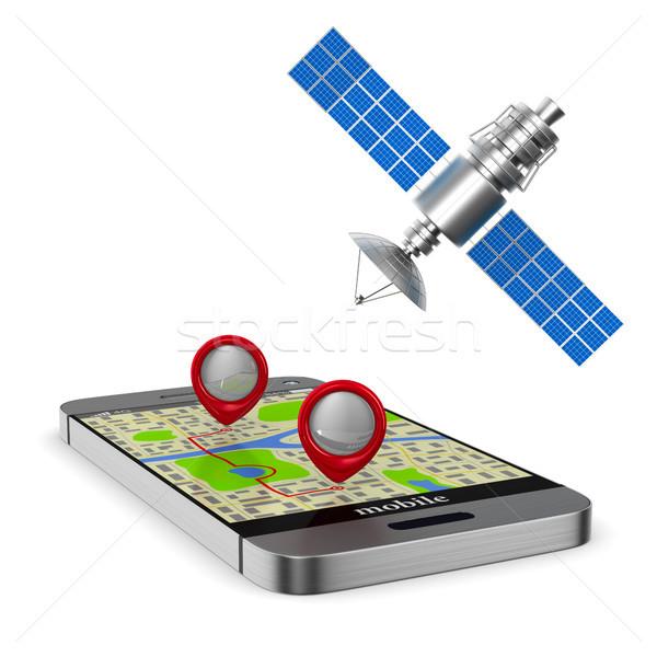 Navigatie telefoon geïsoleerd 3d illustration internet technologie Stockfoto © ISerg