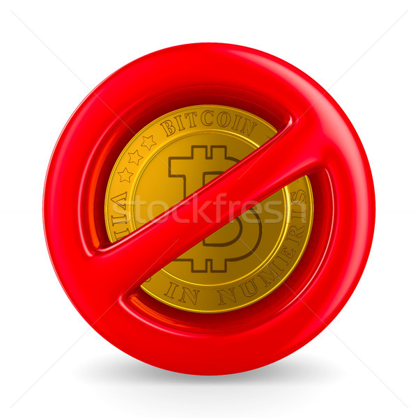 forbidden sign and bitcoin on white background. Isolated 3D illu Stock photo © ISerg
