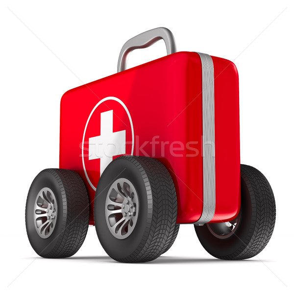First aid kit with whells on white background. Isolated 3D illus Stock photo © ISerg