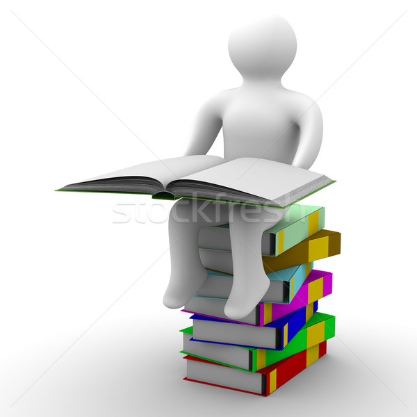 schoolboy with open book on white background. Isolated 3D image Stock photo © ISerg