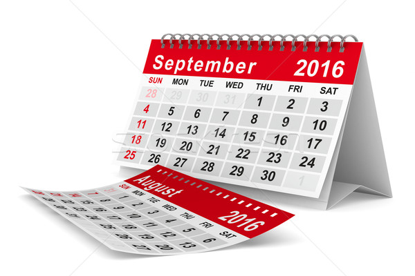 2016 year calendar. September. Isolated 3D image Stock photo © ISerg