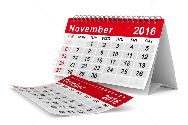 Stock photo: 2016 year calendar. November. Isolated 3D image