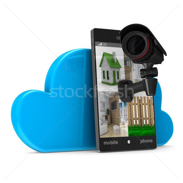 Stock fotó: Telefon · kamera · fehér · izolált · 3D · kép