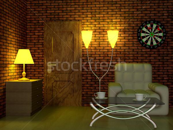 Photo stock: Intérieur · salon · 3D · image · lumière · design