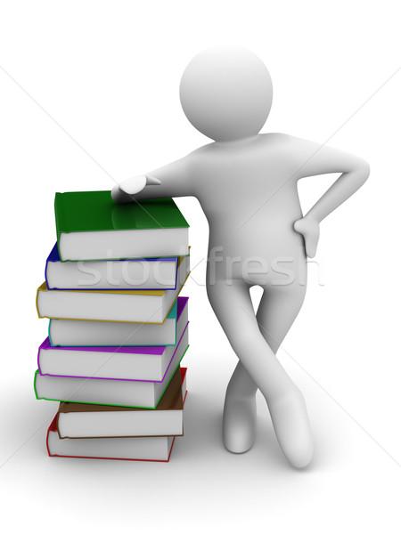 Student bela książek odizolowany 3D obraz Zdjęcia stock © ISerg