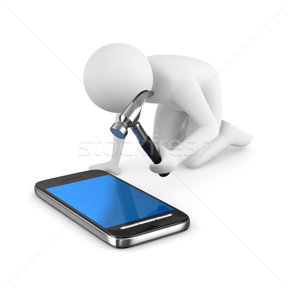 Man repairs phone. Isolated 3D image on white Stock photo © ISerg