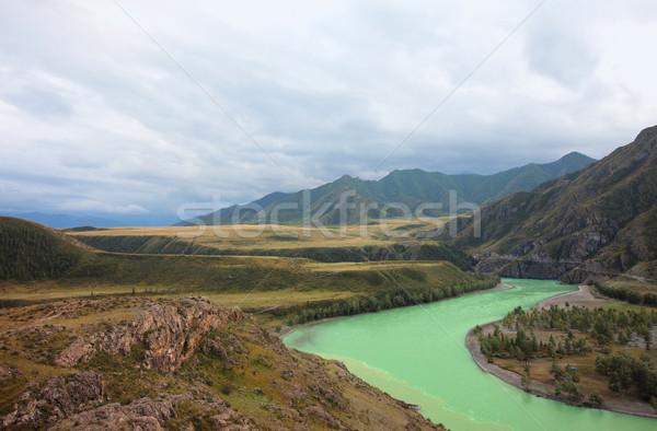 Hegyek gyönyörű tájkép Oroszország Szibéria fa Stock fotó © ISerg