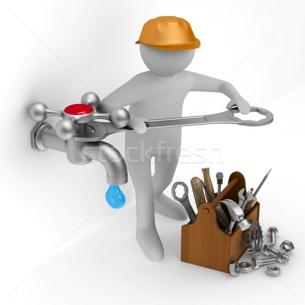 Reparar torneira de água isolado ilustração 3d tecnologia caixa Foto stock © ISerg