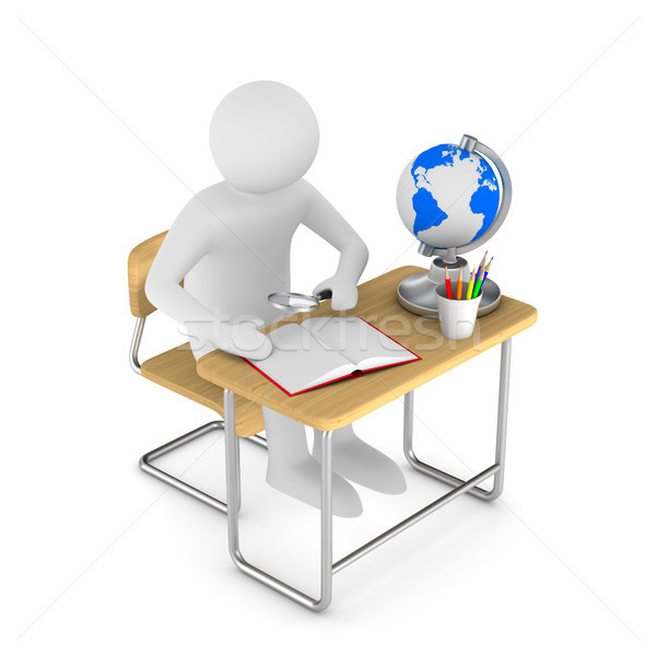 School desk and chair on white background. Isolated 3D illustrat Stock photo © ISerg