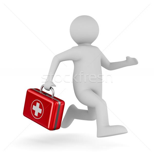 Foto stock: Médico · primeros · auxilios · blanco · aislado · 3D