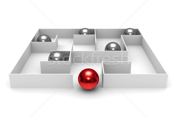 balls in labyrinth on white background. Isolated 3D image Stock photo © ISerg