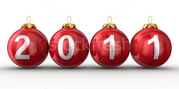 Christmas dekoracji biały 2011 rok odizolowany Zdjęcia stock © ISerg