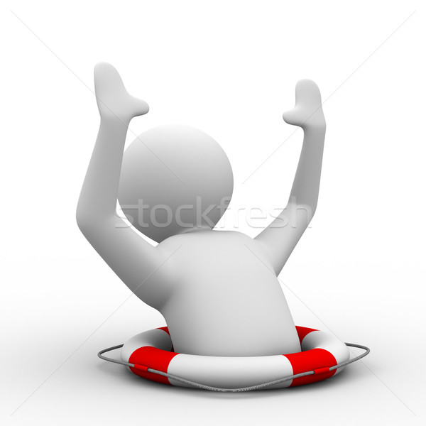 man suffering disaster on  white background. Isolated 3D image Stock photo © ISerg