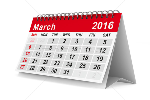 2016 year calendar. March. Isolated 3D image Stock photo © ISerg