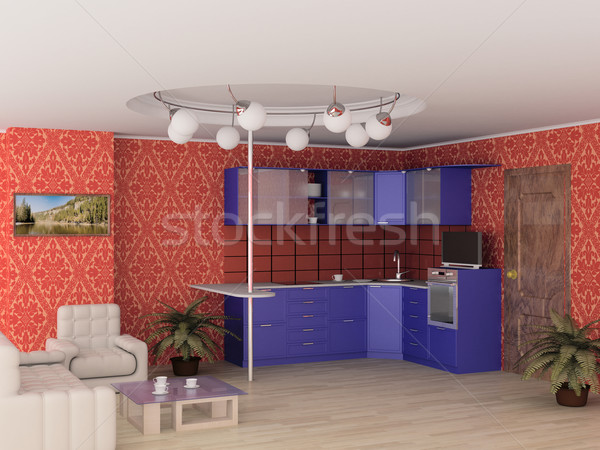 Interior of modern kitchen. 3D image. Stock photo © ISerg