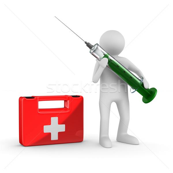 Сток-фото: врач · шприц · белый · изолированный · 3D · изображение