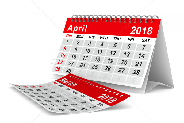 2018 year calendar. April. Isolated 3D illustration Stock photo © ISerg