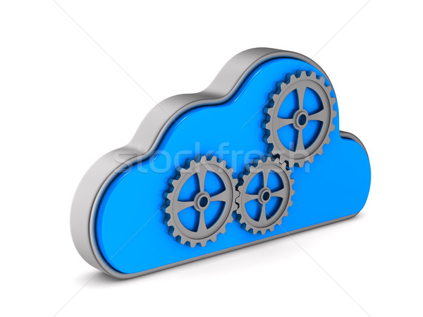 Cloud and gear on white background. Isolated 3D illustration Stock photo © ISerg