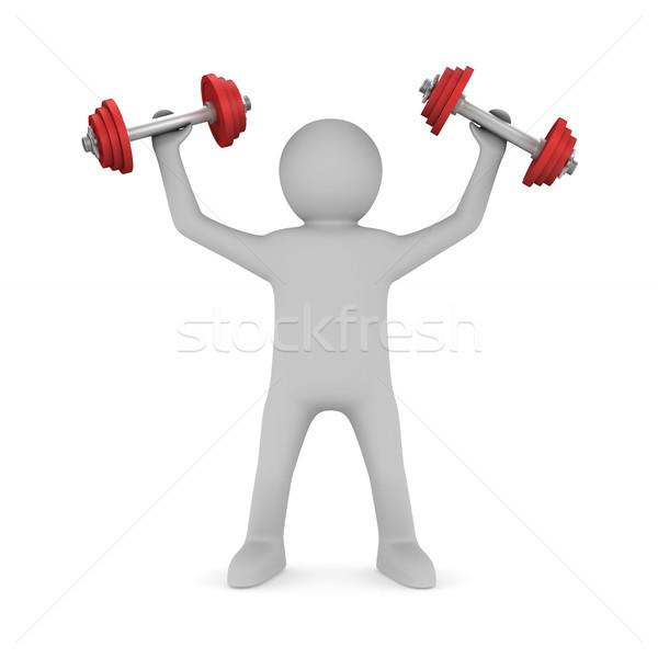 Hombre pesas blanco aislado 3d fitness Foto stock © ISerg