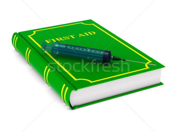 Stock photo: firstaid book on white background. Isolated 3D illustration