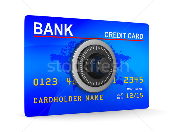 credit card with key. Isolated 3D image Stock photo © ISerg