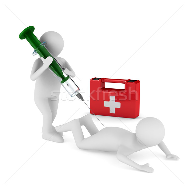 doctor does injection to patient. Isolated 3D image Stock photo © ISerg