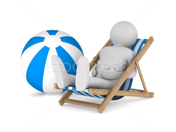 Homem espreguiçadeira bola branco isolado 3D Foto stock © ISerg