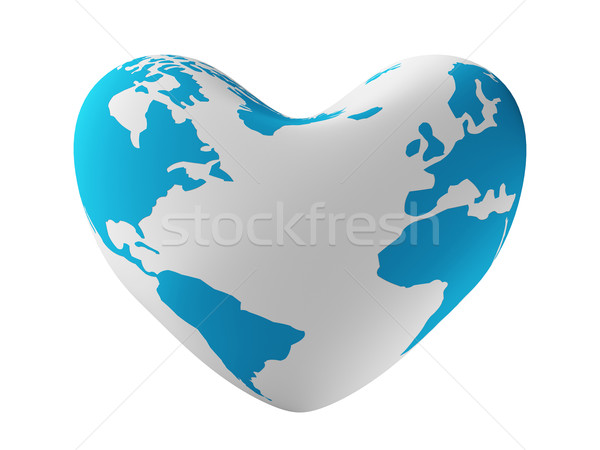 Earth in form of heart. 3D image. Stock photo © ISerg