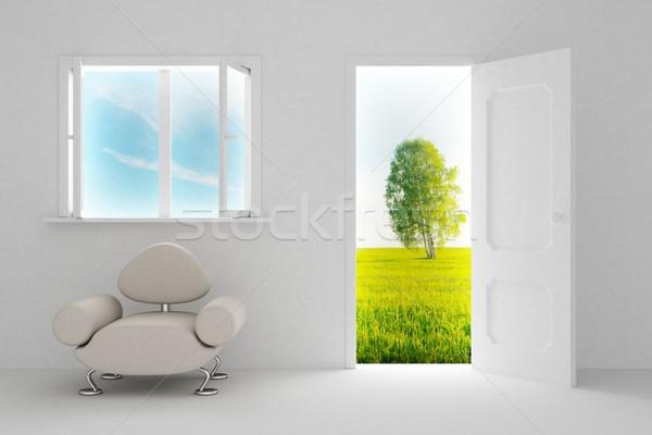 Foto stock: Paisaje · detrás · puerta · abierta · ventana · 3D · imagen