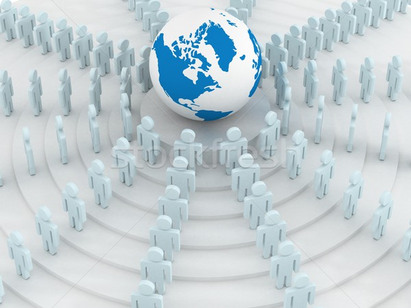 Group of people standing round globe. 3D image. Stock photo © ISerg