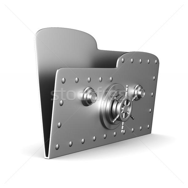 computer folder with lock on white background. Isolated 3d image Stock photo © ISerg