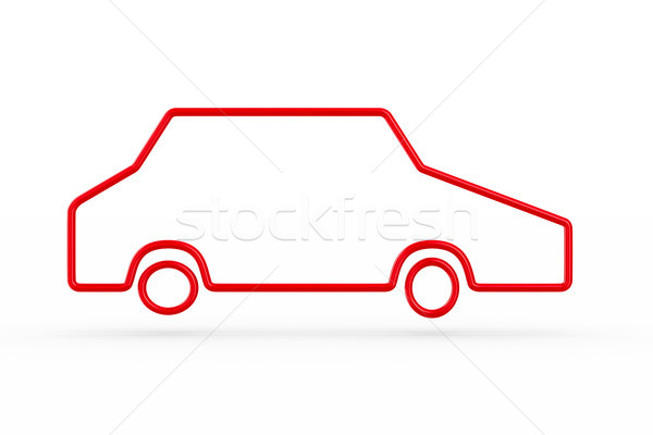 silhouette red car on white background. Isolated 3D illustration Stock photo © ISerg