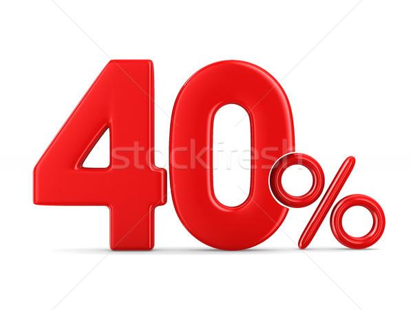 Procent biały odizolowany 3d ilustracji ceny zakupy Zdjęcia stock © ISerg