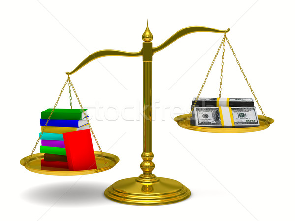 Stock photo: Books and money on scales. Isolated 3D image