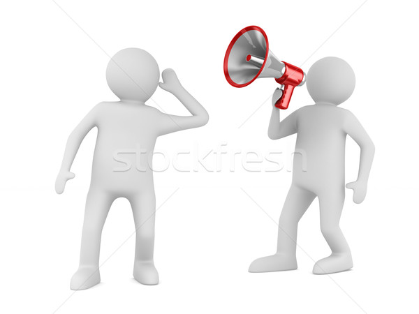 Stock photo: orator speaks in megaphone. Isolated 3D image