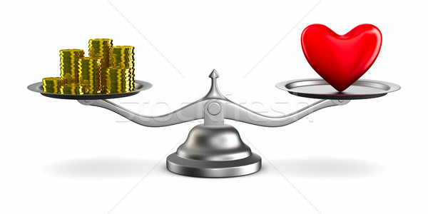 Stock photo: Heart and money on scales. Isolated 3D image