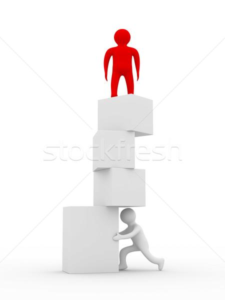 Stock fotó: Instabil · egyensúly · izolált · 3D · kép · fehér