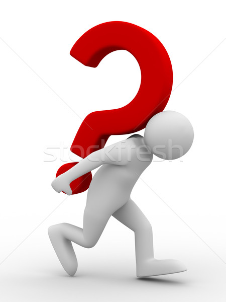Stock photo: man with question on white. Isolated 3D image