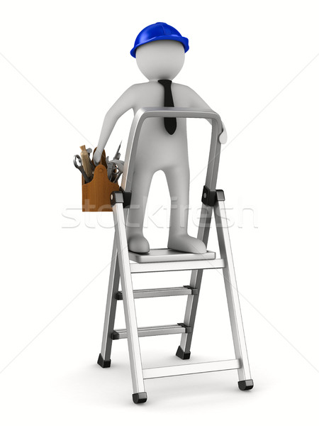 Man with wooden toolbox. Isolated 3D image Stock photo © ISerg