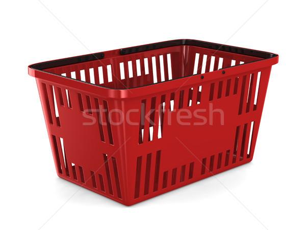 Piros üres bevásárlókosár fehér izolált 3D Stock fotó © ISerg