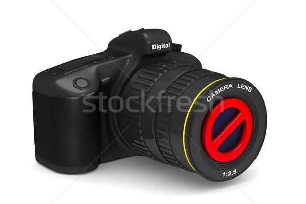Appareil photo numérique interdit signe blanche isolé 3d illustration Photo stock © ISerg