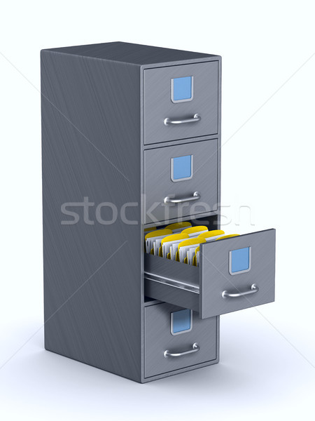 Filing cabinet on white background. Isolated 3D illustration Stock photo © ISerg