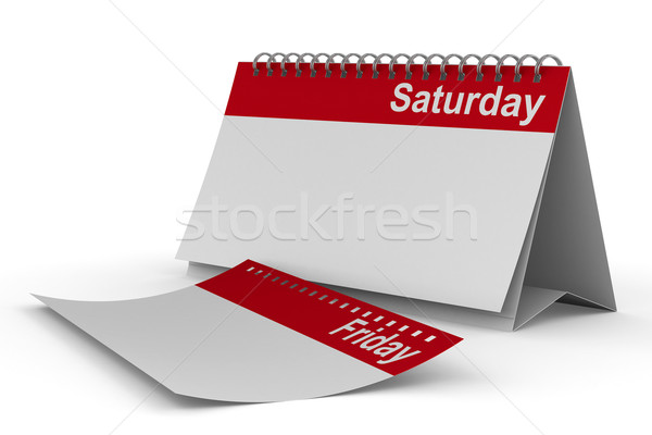 Calendar for saturday on white background. Isolated 3D image Stock photo © ISerg