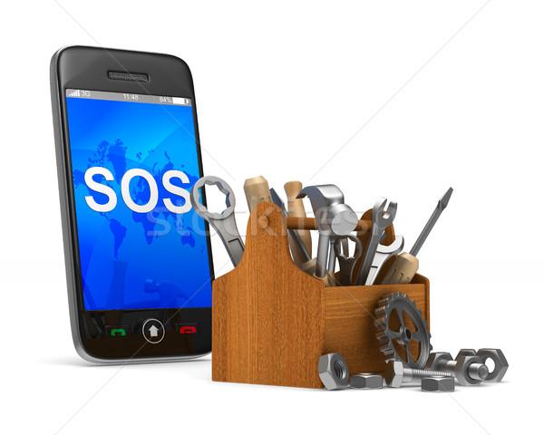 Stock fotó: Telefon · szolgáltatás · fehér · izolált · 3D · kép