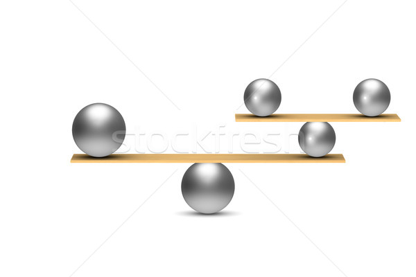 Kiegyensúlyozott golyók fehér izolált 3d illusztráció absztrakt Stock fotó © ISerg