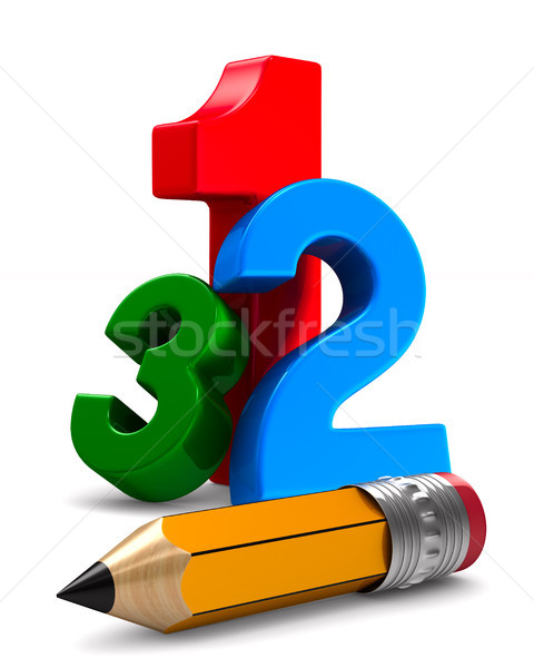 number and pencil on white background. Isolated 3D illustration Stock photo © ISerg