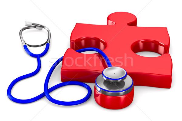 Stethoscope and puzzle on white background. Isolated 3D image Stock photo © ISerg