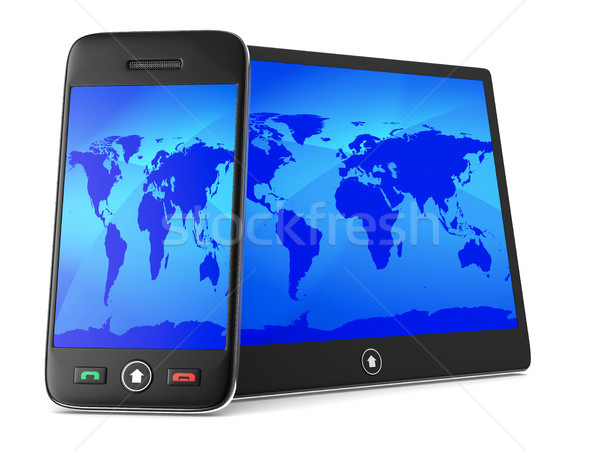 phone and tablet on white background. Isolated 3D image Stock photo © ISerg