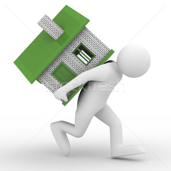 men carry house on back. Isolated 3D image Stock photo © ISerg