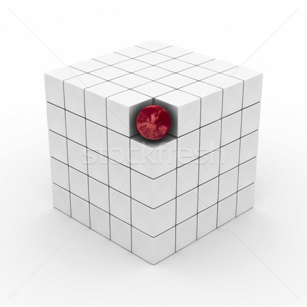 Zdjęcia stock: Kostki · sferze · biały · 3D · obraz · działalności